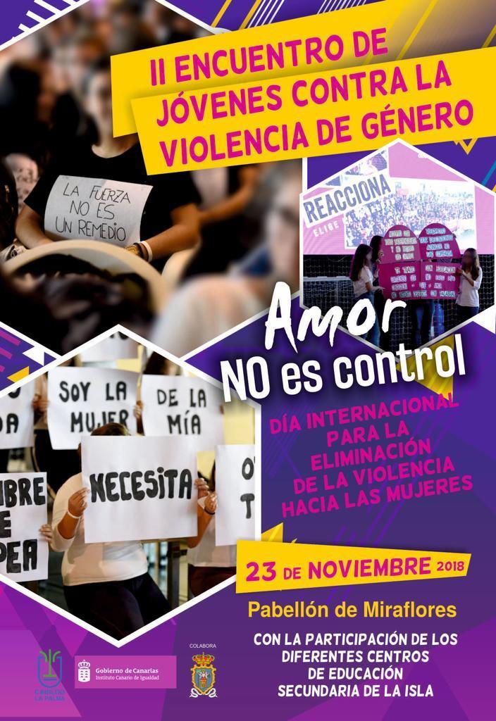 Cartel II Encuentro de ju00f3venes contra la violencia de gu00e9nero