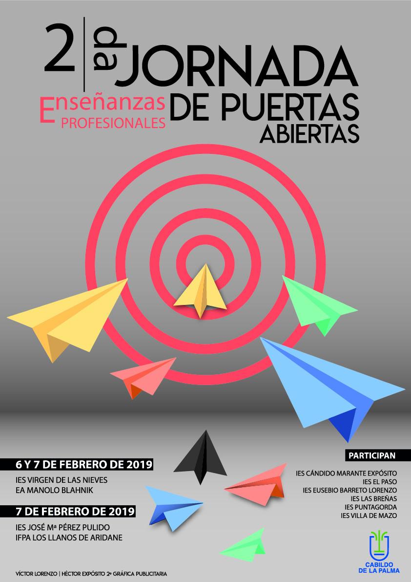 Cartel II Jornadas de Puertas Abiertas Enseu00f1anzas Profesionales La Palma