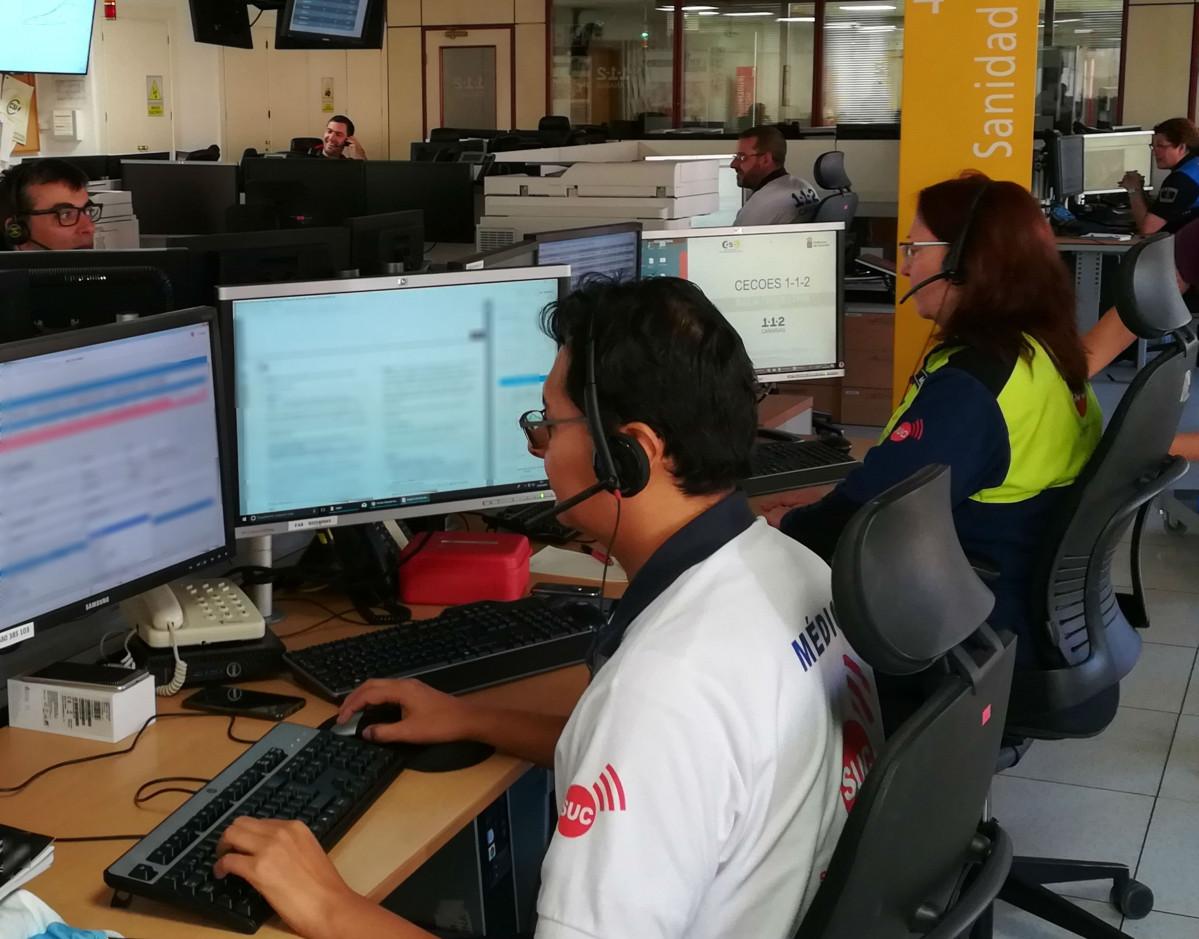 Mu00e9dico Coordinador del SUC en la sala operativa el 1 1 2